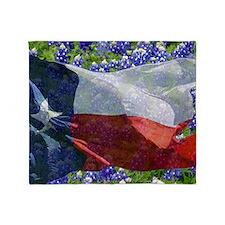 Texas flag bluebonnet card Throw Blanket