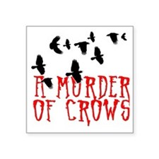 "A Murder of Crows Birding T Square Sticker 3"" x 3"""