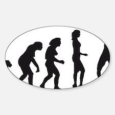 evolution female badminton player Sticker (Oval)