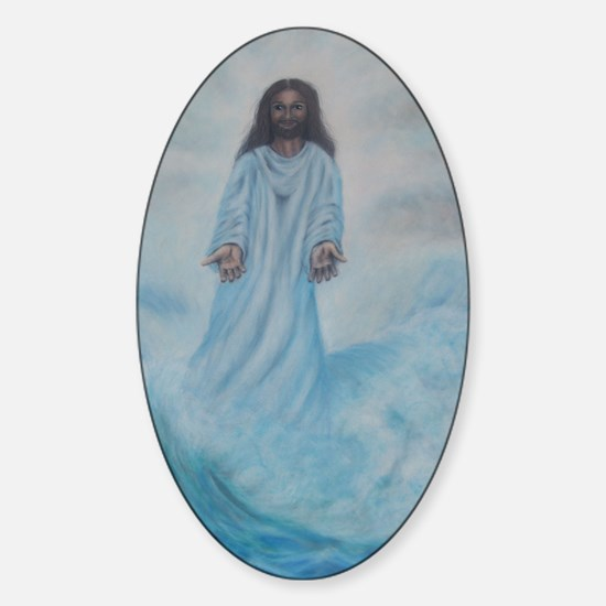 Jesus Walking On Water Sticker (Oval)