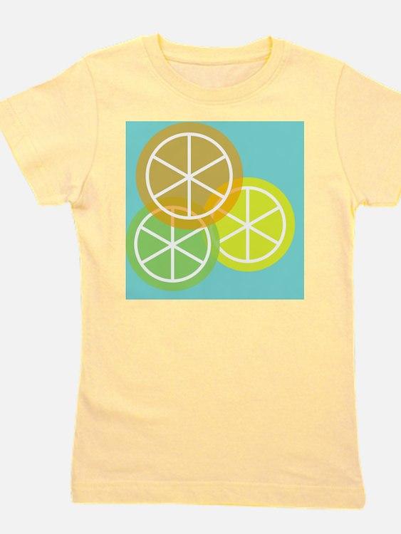 Summer Citrus - Teal Background Girl's Tee