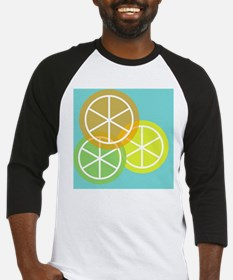 Summer Citrus - Teal Background Baseball Jersey