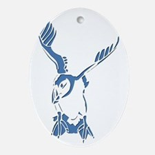 Puffin Landing Oval Ornament