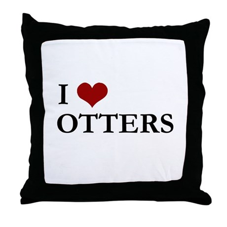 I Love Otters Throw Pillow