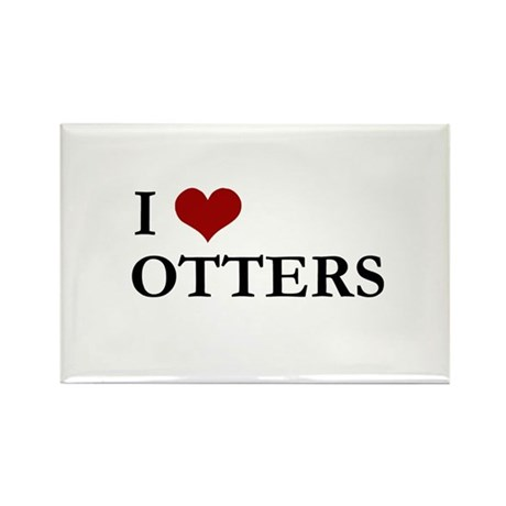 I Love Otters Rectangle Magnet (100 pack)