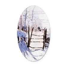 Claude Monet The Magpie Oval Car Magnet