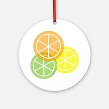 Summer Citrus - Transparent Backgro Round Ornament