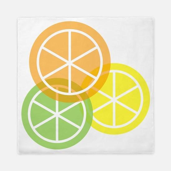 Summer Citrus - Transparent Background Queen Duvet
