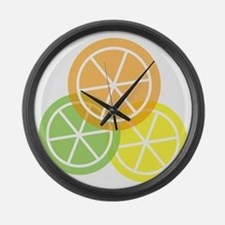 Flip Flops - Summer Citrus - Tran Large Wall Clock