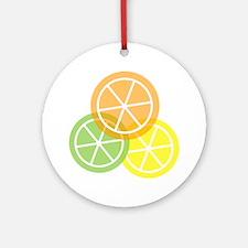 Flip Flops - Summer Citrus - Transp Round Ornament