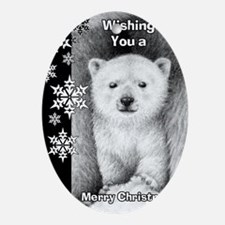 Polar Bear Cub Snowflake Christmas C Oval Ornament