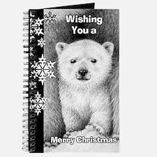 Polar Bear Cub Snowflake Christmas Card Journal
