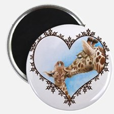 #Giraffe and Calf Brown Snowflake Heart T-s Magnet