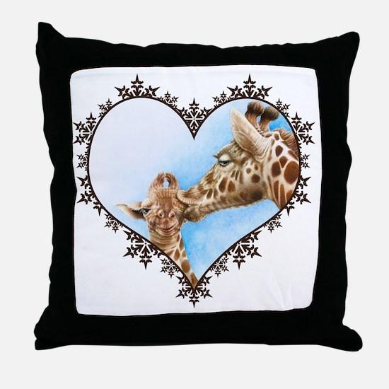 #Giraffe and Calf Brown Snowflake Hea Throw Pillow