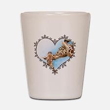 #Giraffe and Calf Brown Snowflake Heart Shot Glass