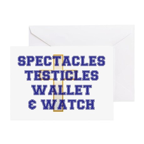 SPECTACLES -TESTICLES - WALLET WATC Greeting Card