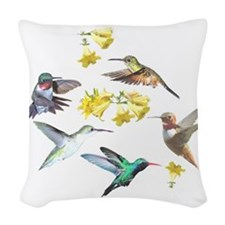 HUMMINGBIRDS AND TRUMPET PLANT Woven Throw Pillow