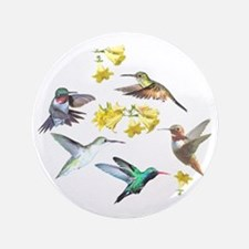 """HUMMINGBIRDS AND TRUMPET PLANT 3.5"""" Button"""