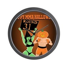 MMA Halloween Fighter and Ring Girl Wall Clock