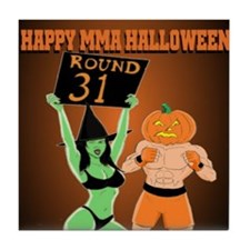 MMA Halloween Fighter and Ring Girl Tile Coaster