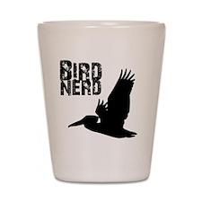 Bird Nerd (Pelican) Birding T-Shirt Shot Glass