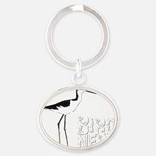Bird Nerd (Stilt) Birding T-Shirt Oval Keychain
