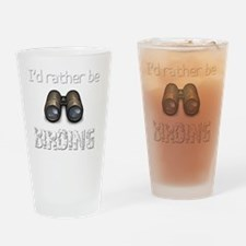 Id Rather Be Birding Birder T-Shirt Drinking Glass