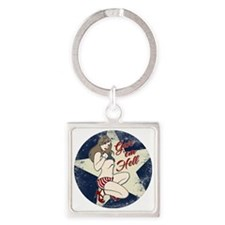 GIVE 'EM HELL PIN-UP Square Keychain