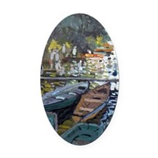 Monet Bathers at La Grenouillere Oval Car Magnet