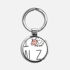 I Heart NZ - Cute Sheep Round Keychain