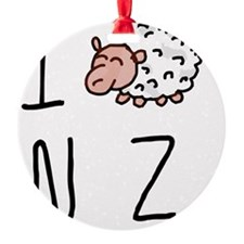 I Heart NZ - Cute Sheep Round Ornament