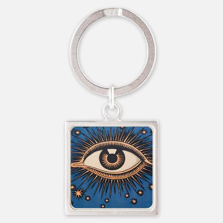 Eyeball Starburst Square Keychain