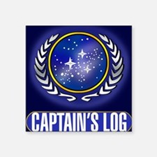 "Federation Captains Log (da Square Sticker 3"" x 3"""