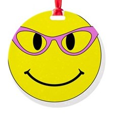 Smiley Face Pink Glasses Ornament