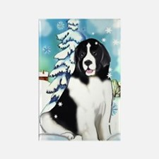 Winter scene with Newf Rectangle Magnet