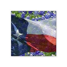 "Texas state flag with blueb Square Sticker 3"" x 3"""