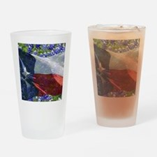 Texas state flag with bluebonnets Drinking Glass