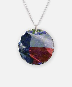Texas state flag with bluebo Necklace