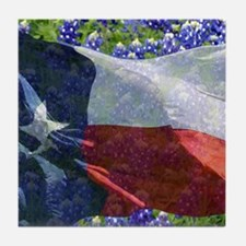 Texas state flag with bluebonnets Tile Coaster