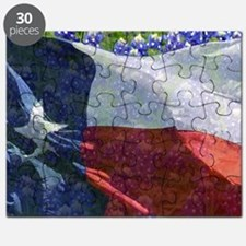 Texas state flag with bluebonnets Puzzle
