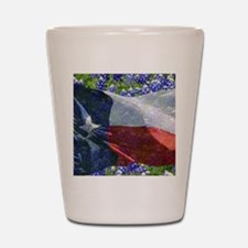 Texas state flag with bluebonnets Shot Glass