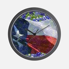 Texas state flag with bluebonnets Wall Clock