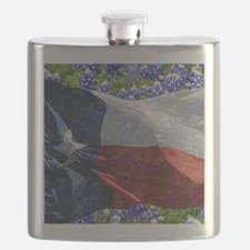 Texas state flag with bluebonnets Flask