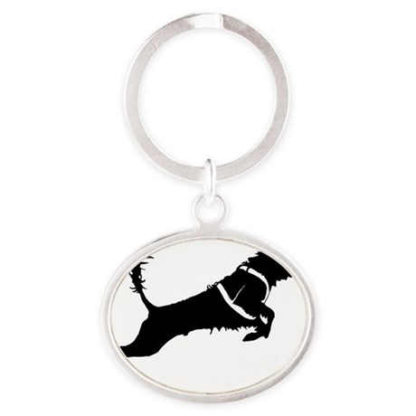 Portuguese Water Dog Jump Oval Keychain