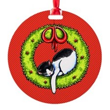 Christmas Kitty Wreath Red Ornament