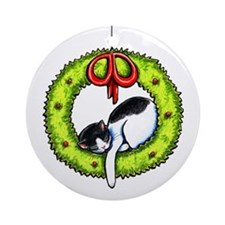 Christmas Kitty Wreath Ornament (Round)