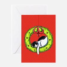 Christmas Kitty Wreath Greeting Cards