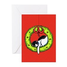 Christmas Kitty Wreath Greeting Cards