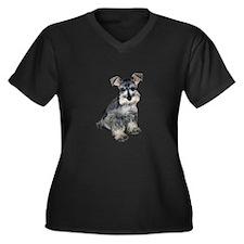 Schnauzer Pup3 Women's Plus Size V-Neck Dark T-Shi