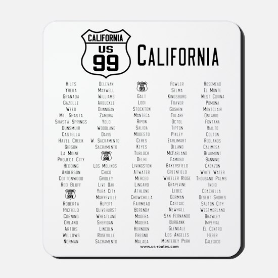 US Route 99 - California Cities Mousepad